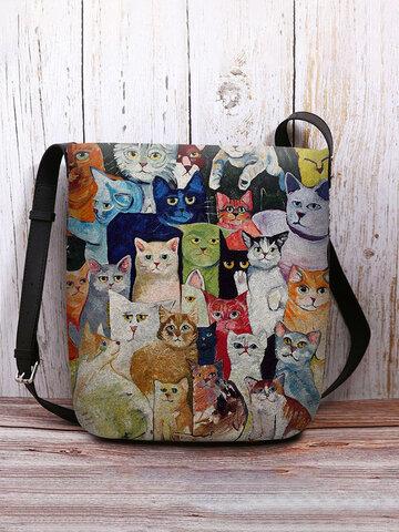 Große Tote-Handtasche mit Katzenmuster