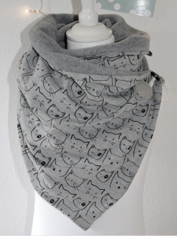 Women Solid Color Scarf Shawl Wrap Versatile Thick Warmth Shawl Cat Print Scarf