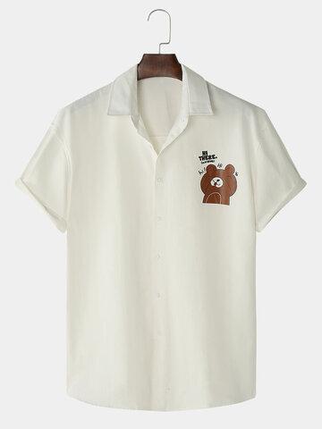 Cartoon Bear Chest Print Cute Shirts