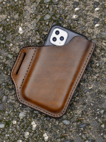 EDC Genuine Leather Retro 6.3 Inch Phone Bag