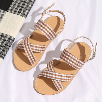 Girls Small Plaid Cloth Beach Sandals