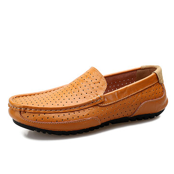 Men Hollow Out Breathable Soft Loafers