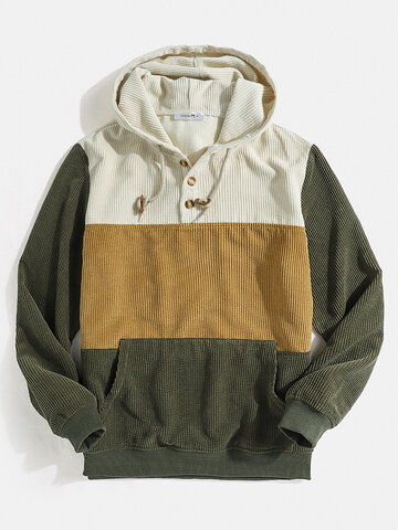 Color Bolck Stitching Patchwork Drawstring Hoodies