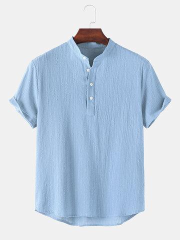 Basic Solid Linen Henley Shirt