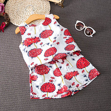 Baby Children Girl Flower  Print O-neck Sleeveless Suit