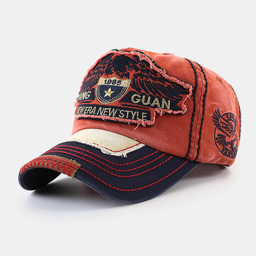 Eagle Embroidered Letter Pattern Baseball Cap Embroidery Washed Distressed Cap