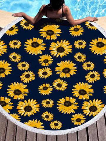Daisy Sunflower Round Beach Towel Blanket Hawaii Hawaiian Tropical Large Microfiber Terry Beach Roundie Palm Circle Picnic Carpet Yoga Mat with Fringe