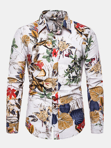 Leaves Floral Printing Flax Loose Shirt