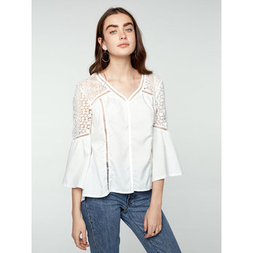 Casual Lace Patchwork Hollow Out V-Neck Shirt, White black