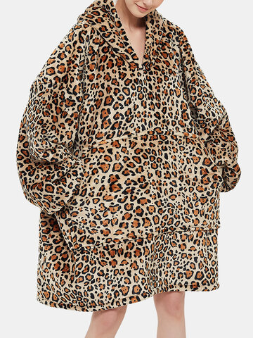 Leopard Flannel Wearable Blanket Oversized Hoodie
