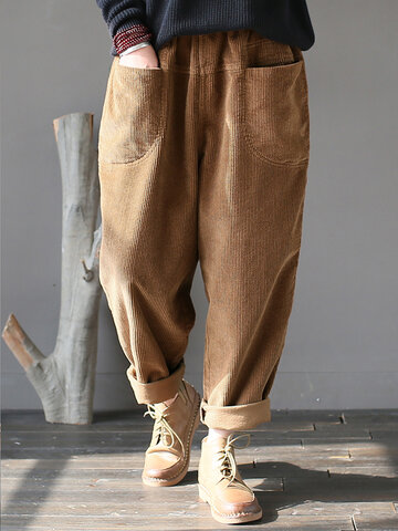 Solid Color Corduroy Casual Pants