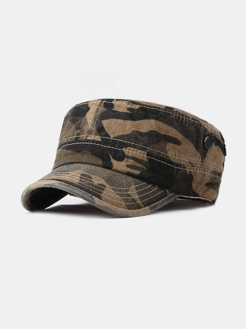 Camouflage Washed Cotton Flat Cap