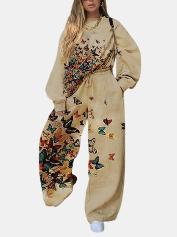 Butterfly Print O-neck Suit