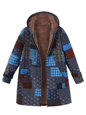 Vintage Block Printing Hooded Coat
