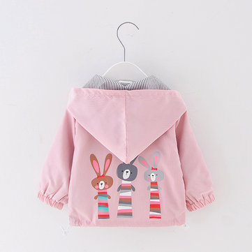 Rabbit Print Girls Hooded Jacket For 1-7Y
