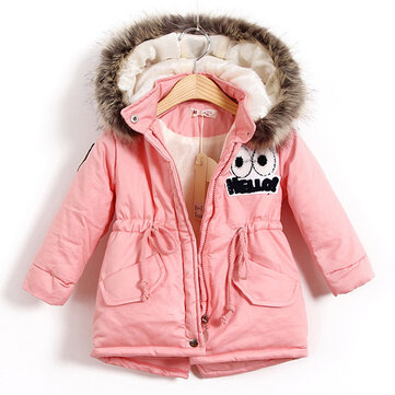 Girls Warm Thick Jackets With Fur Hat, Pink