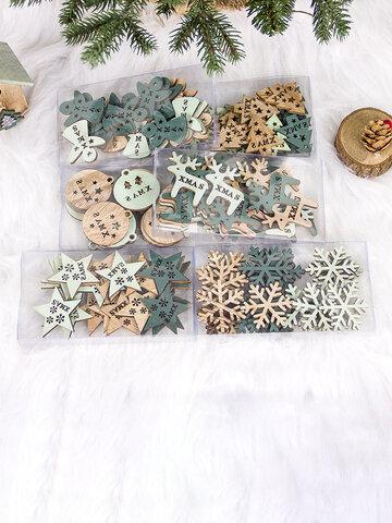 24 قطعة زخرفة عيد الميلاد الخشبية المجوفة الإبداعية