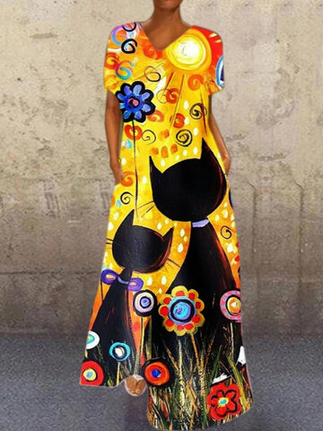 Cartoon Print V-neck Maxi Dress