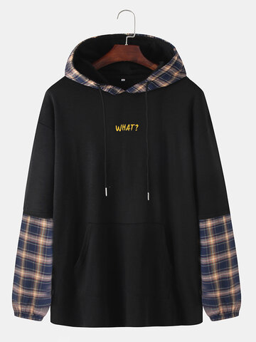 Plaid Patchwork Letter Print Hoodies
