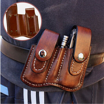 Men EDC Genuine Leather Retro Belt Bag