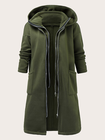 Loose Solid Zip Front Hooded Casual Coat