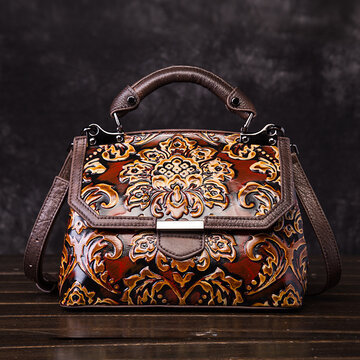 Cowhide Embroidery Handbags Vintage Craft Bags