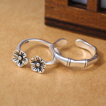 Ethnic Flower Bamboo Opening Silver Rings