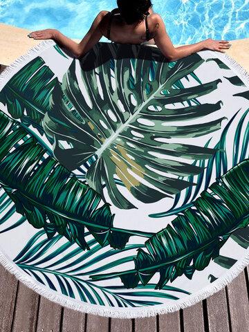 Summer Leaf Flower Animal Round Beach Towel With Tassel Picnic Rug Driftsand Pattern Microfiber Shower Bath Towel Travel Blanket Swimming Cover Bikini Shawl