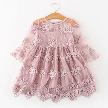 Pizzo Flower Girls Princess Dress For 3-11Y