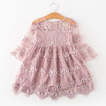 Spitze Blumenmädchen Prinzessin Kleid für 3-11Y