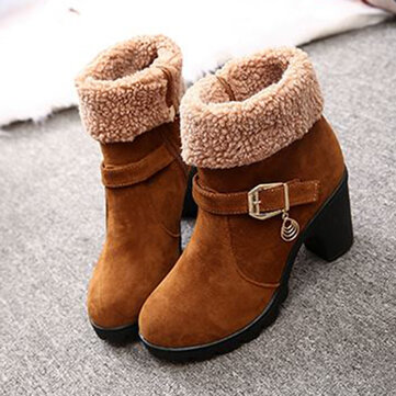 New Trendy Sweet Lamb Wool Zipper Square Heel Ankle Winter Boots For Women