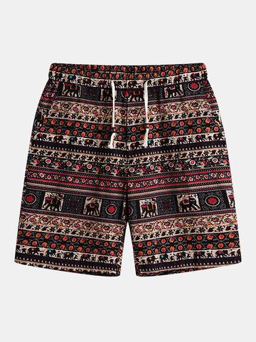 Ethnic Printing Drawstring Straight Shorts