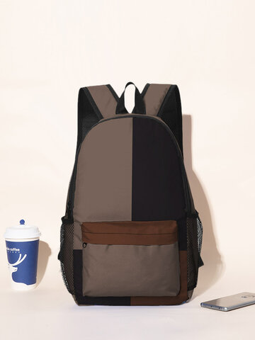 Color Block Large Capacity Backpack