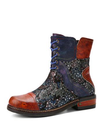 Socofy Lederhose mit ethnischer Stickerei Stiefel