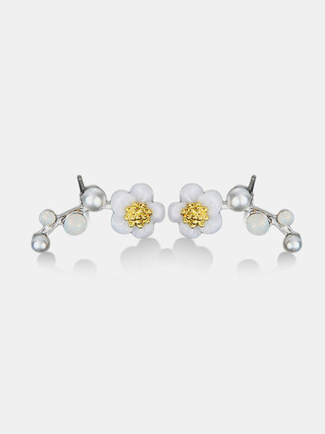 Cute Shell Flower Rhinestones Earrings