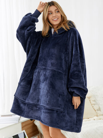 Flannel Thick Fleece Lined Oversized Hoodie