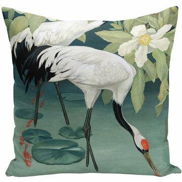 Retro Painting Flamingo Swan Fairy  Pillowcase Home Fabric Sofa Cushion Cover