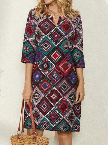 Ethnischer geometrischer Druck Kleid