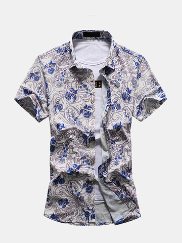 Plus Size Beach Seaside Casual Fashion Floral Printing Short Sleeve Dress Shirts for Men