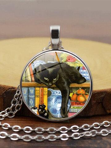 Black Cat Bookcase Women Necklace