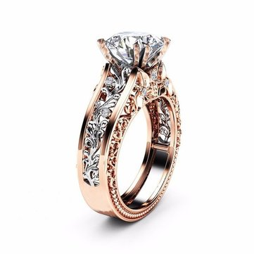 Bague platine en or rose 14 carats Topaz
