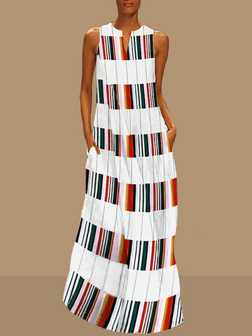 Casual Sleeveless Striped V-neck Maxi Dress