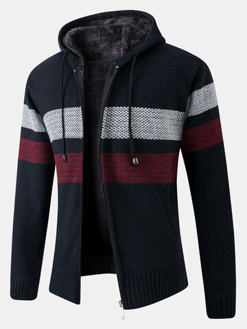 Patchwork Knit Hooded Cardigans