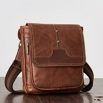 Vintage Genuine Leather Casual Business Crossbody Bag