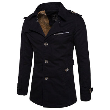 Mens M-4XL Thicken Trench Coat