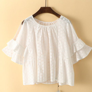 Hook flower hollow O-neck Loose Blouse