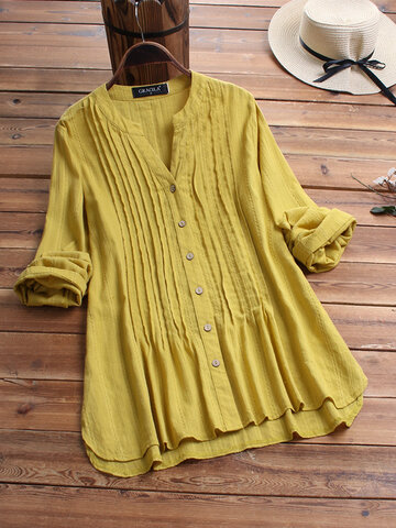 Irregular Pleated Solid Color Blouse