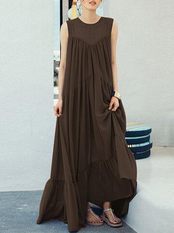 Ruffle Solid Color Sleeveless Maxi Dress