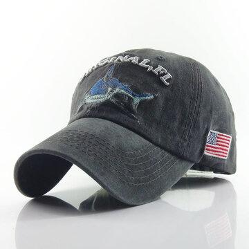 野球帽レトロサンハットサメ刺繍帽子