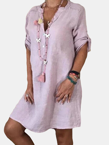 Solid Color V-neck Casual Dress